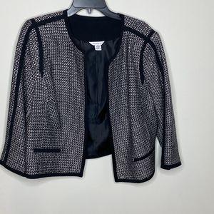 Liz Claiborne black tweed 3/4 sleeve blazer jacket